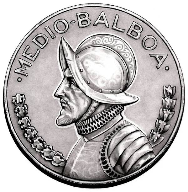 Coin Poster featuring the drawing Balboa by Fred Larucci