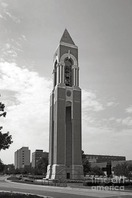 Bsu Poster featuring the photograph Ball State University Shafer Tower by University Icons
