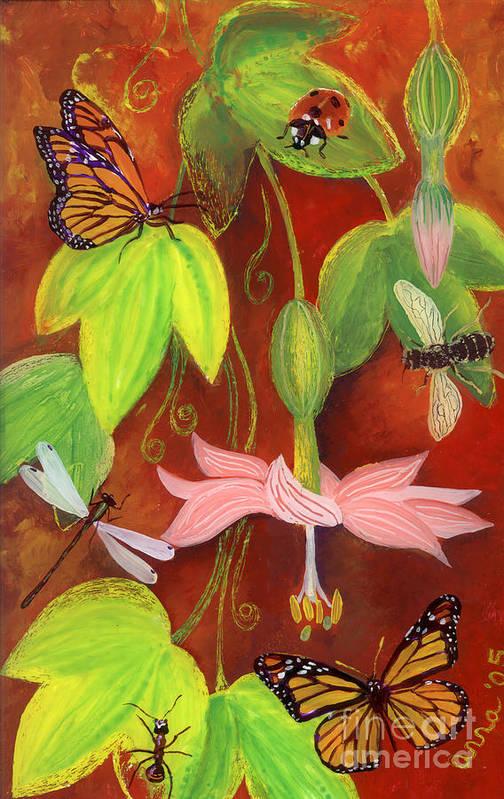 Monarch Butterfly Poster featuring the painting Bananapoka by Anna Skaradzinska
