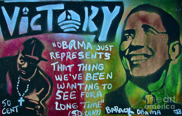 Barack Obama Poster featuring the painting Barack And Fifty Cent by Tony B Conscious