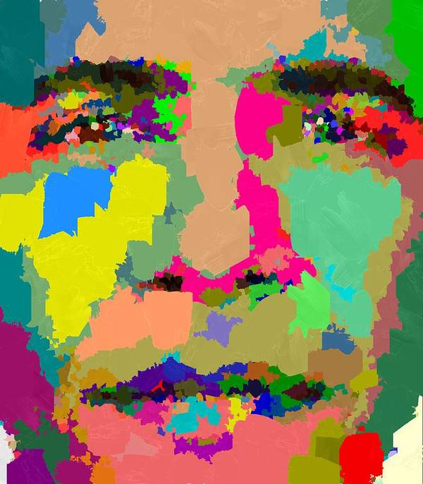 Portrait Poster featuring the painting Barack Obama - Abstract 01 by Samuel Majcen