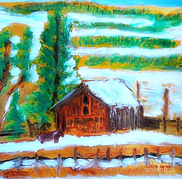 Loa Poster featuring the painting Barn Near Loa Utah 1 by Richard W Linford