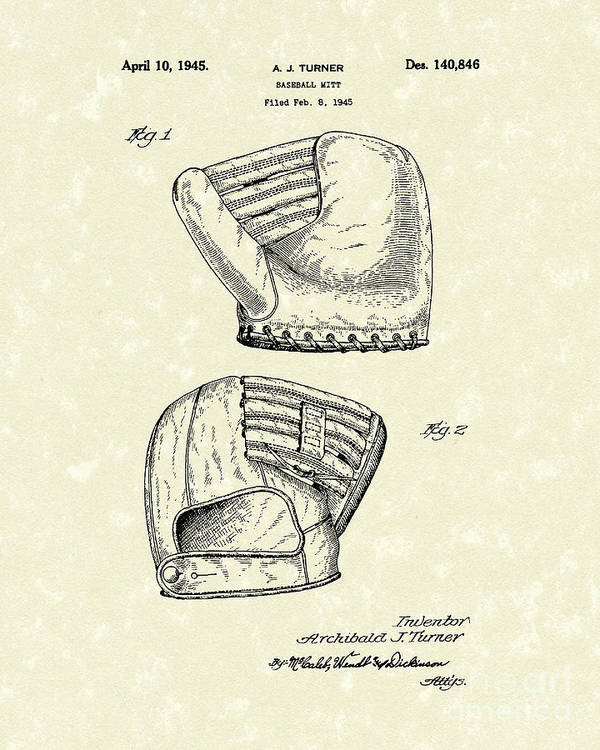 Turner Poster featuring the drawing Baseball Mitt 1945 Patent Art by Prior Art Design
