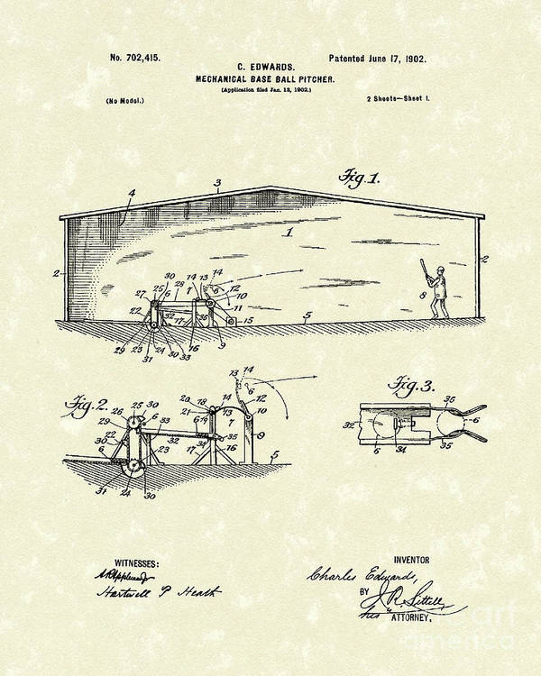 Edwards Poster featuring the drawing Baseball Pitcher 1902 Patent Art by Prior Art Design
