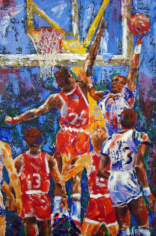 Basketball Poster featuring the painting Basketball No 1 by Walter Fahmy
