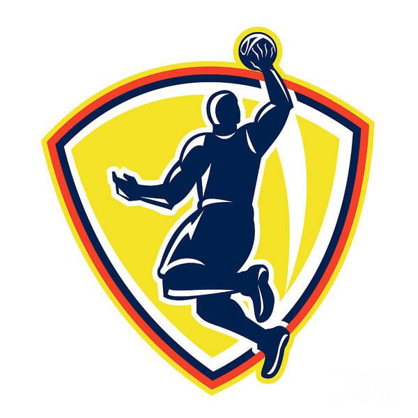 Basketball Poster featuring the digital art Basketballer Dunking Rebounding Ball Retro by Aloysius Patrimonio
