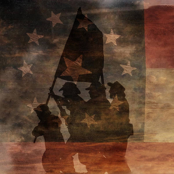 Battle Flag Silhouette Poster featuring the digital art Battle Flag Silhouette 1st Of Three by Randy Steele