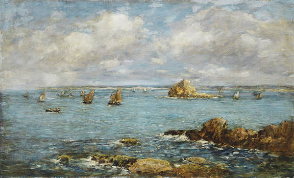 French Poster featuring the painting Bay Of Douarnenez by Eugene Louis Boudin