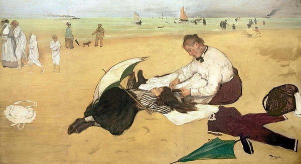 La Plage Poster featuring the painting Beach Scene Little Girl Having Her Hair Combed By Her Nanny by Edgar Degas