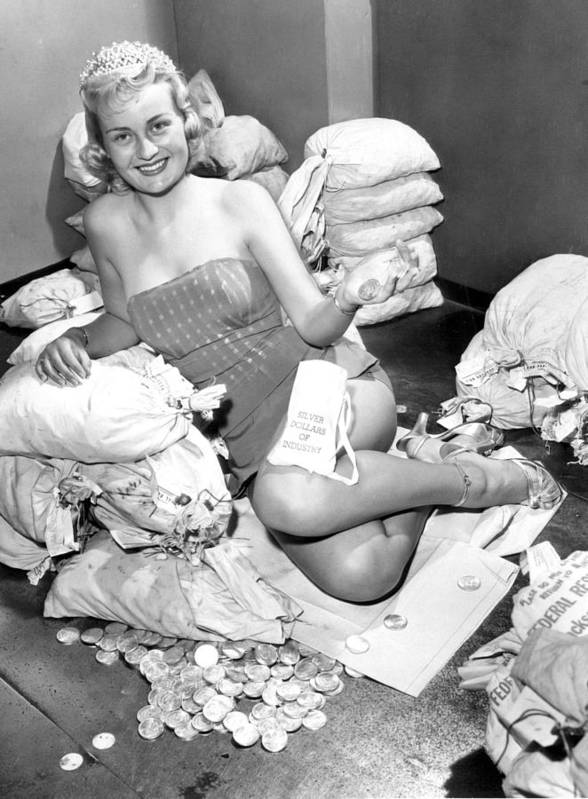 Retro Images Archive Poster featuring the photograph Beauty Surrounded By Money by Retro Images Archive