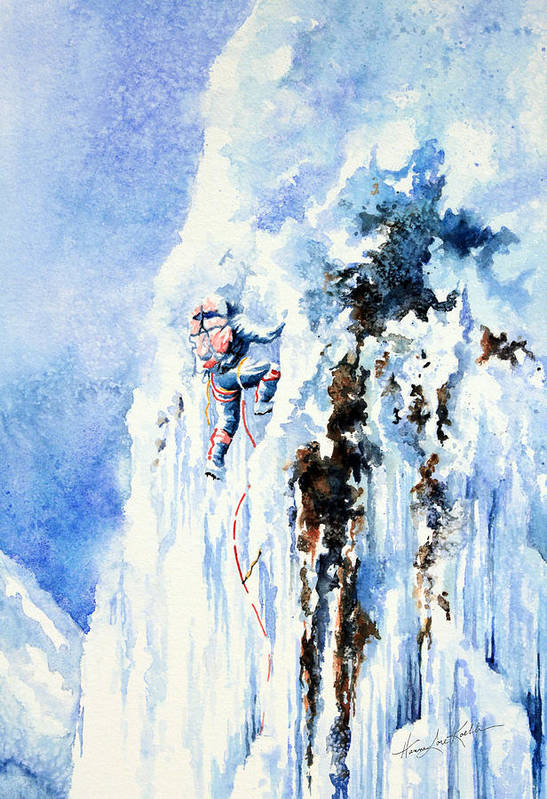 Ice Climbing Poster featuring the painting Because It's There by Hanne Lore Koehler