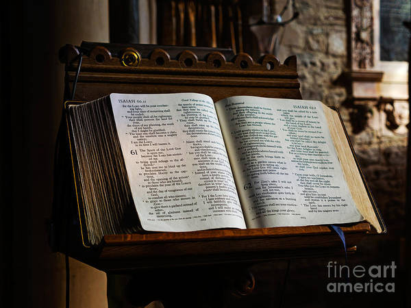 Bible Poster featuring the photograph Bible Open On A Lectern by Louise Heusinkveld