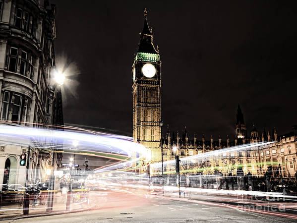 Big Ben Poster featuring the photograph Big Ben With Light Trails by Jasna Buncic
