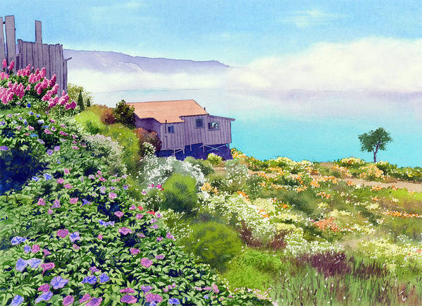 Big Sur Poster featuring the painting Big Sur Cottage by Mary Helmreich