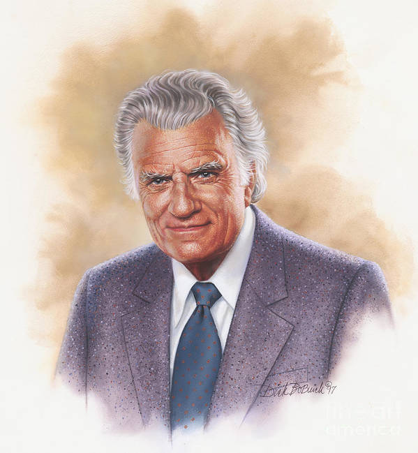 Portrait Poster featuring the painting Billy Graham Evangelist by Dick Bobnick