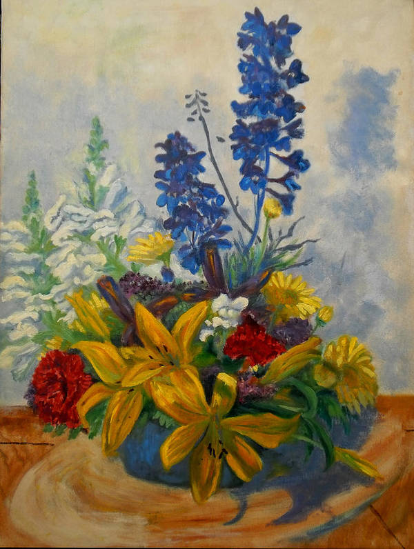 Still Life Of Flower Bouquet Given To Me By My Boss. Poster featuring the painting Birthday Flowers 1 by Brian Pinkey