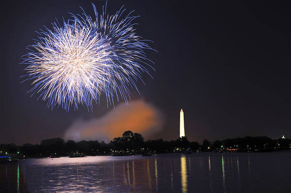 Fireworks Poster featuring the photograph Blue And White O'er Washington D.c. by Steven Barrows