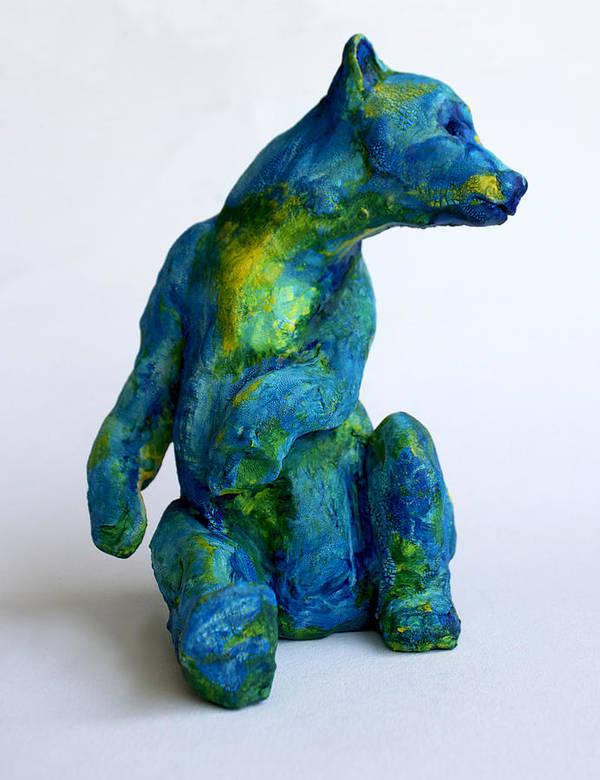 Bear Poster featuring the sculpture Blue Bear by Derrick Higgins