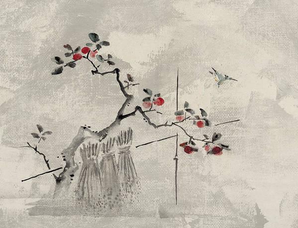 Bird Poster featuring the digital art Blue Bird by Aged Pixel