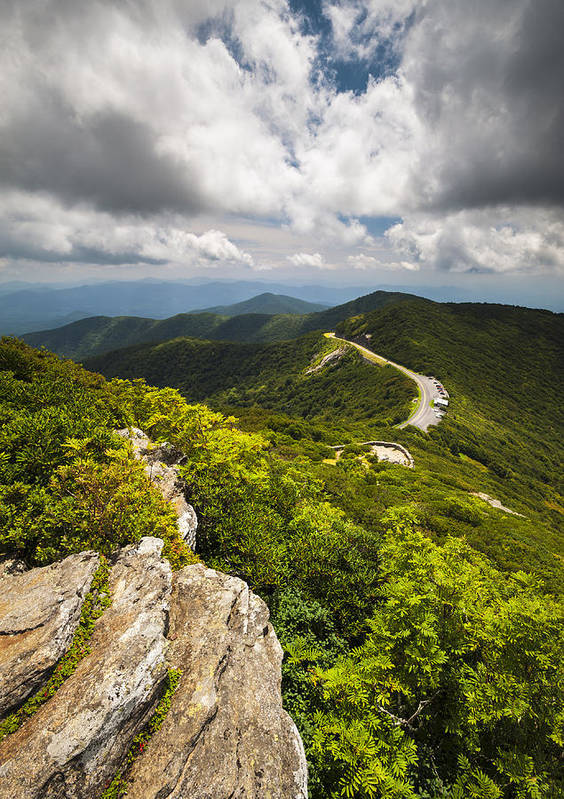 Blue Ridge Parkway Poster featuring the photograph Blue Ridge Parkway Craggy Gardens Asheville Nc - Craggy Pinnacle by Dave Allen