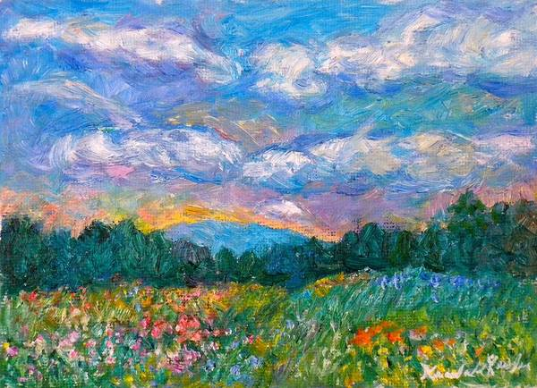 Landscape Poster featuring the painting Blue Ridge Wildflowers by Kendall Kessler