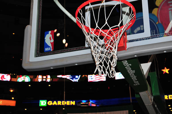 Sports Poster featuring the photograph Boston Celtics' Basket by Mike Martin