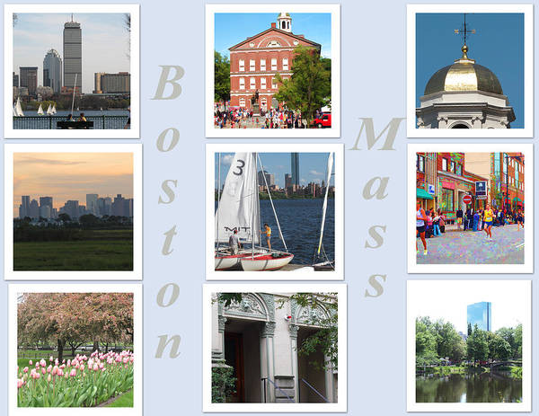 Boston Poster featuring the photograph Boston Collage by Barbara McDevitt