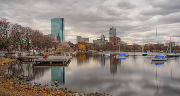 Boston Reflections Charles River Prudential John Hancock Clouds Poster featuring the photograph Boston Reflections by Linda Szabo