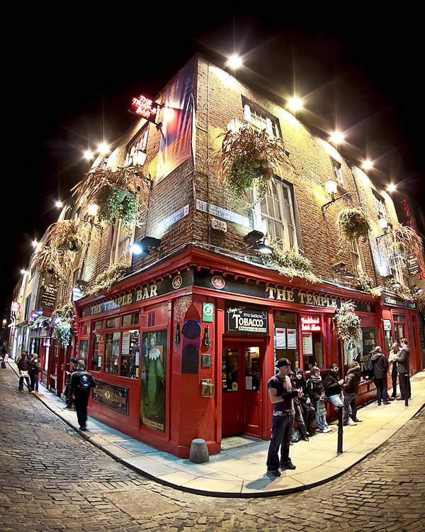 Dublin Poster featuring the photograph Bright Lights Of Temple Bar In Dublin Ireland by Mark E Tisdale