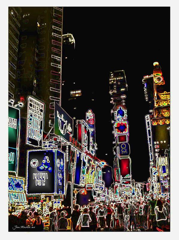 Broadway Poster featuring the digital art Broadway by Joan Minchak
