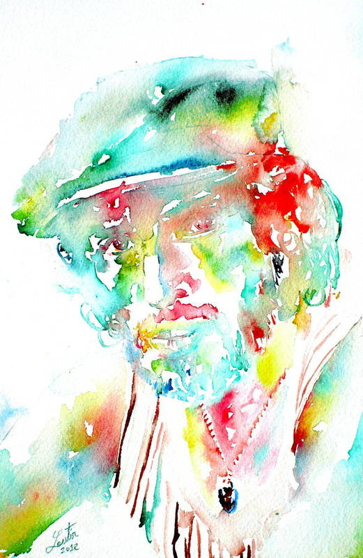 Bruce Poster featuring the painting Bruce Springsteen Watercolor Portrait by Fabrizio Cassetta
