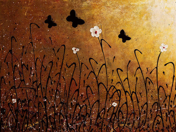 Abstract Art Poster featuring the painting Butterflies Landscape by Carmen Guedez