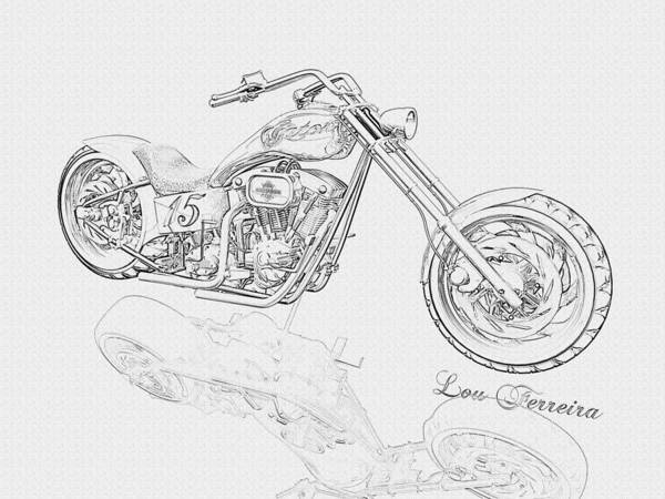 Pencil Drawing Motorcycle Poster featuring the digital art Bw Gator Motorcycle by Louis Ferreira