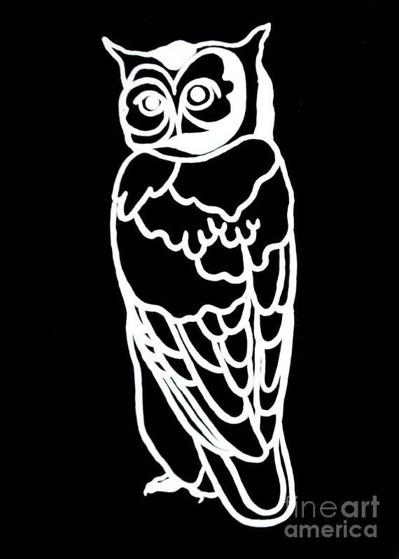 Owl Poster featuring the painting Bw Owl by Amy Sorrell