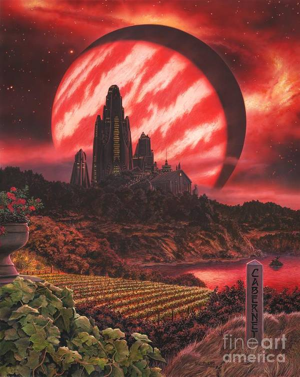 Cabernet Poster featuring the painting Cabernet Wine Country Fantasy by Stu Shepherd