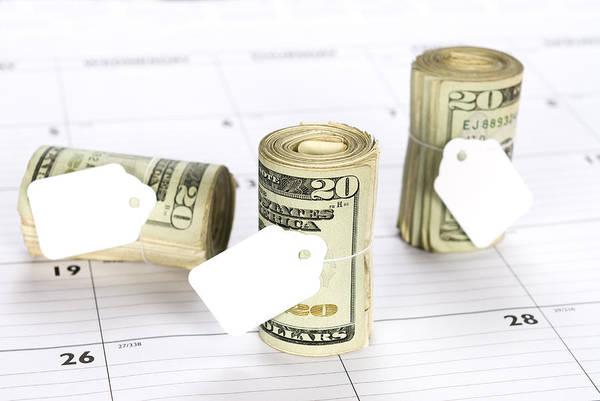Money Poster featuring the photograph Calendar And Bankrolls by Joe Belanger