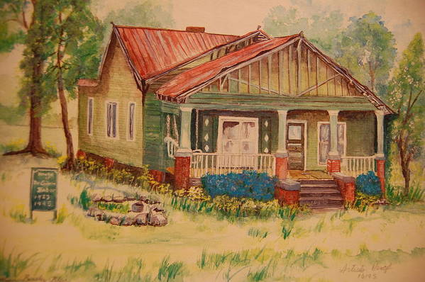 First Black Doctor In Greensbobo Poster featuring the painting Calvin Baber House by Lynn Beazley Blair