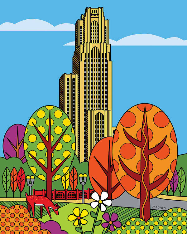 Pittsburgh Poster featuring the digital art Cathedral Of Learning by Ron Magnes