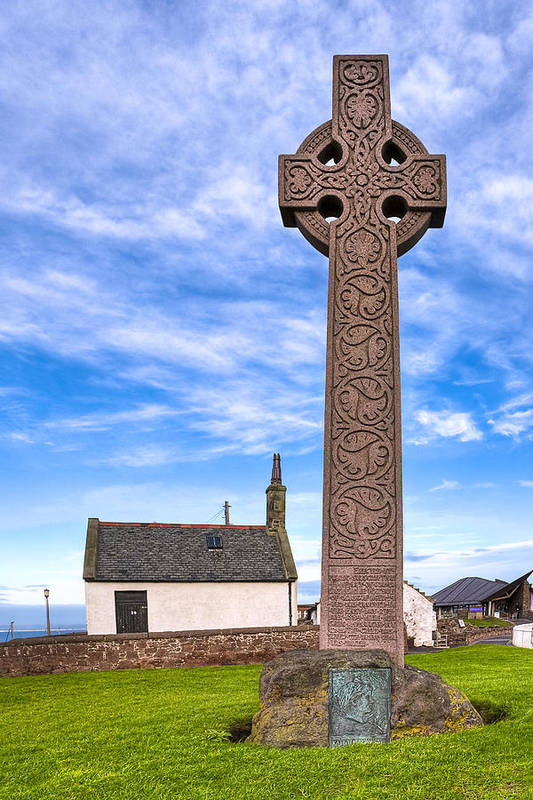 Celtic Cross Poster featuring the photograph Celtic Cross On The Scottish Coast At North Berwick by Mark E Tisdale