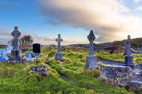 Galway Poster featuring the photograph Celtic Crosses In An Old Irish Cemetery by Mark E Tisdale