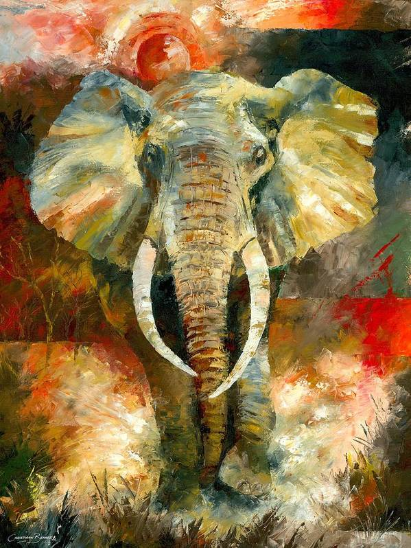 Elephant Poster featuring the painting Charging African Elephant by Christiaan Bekker