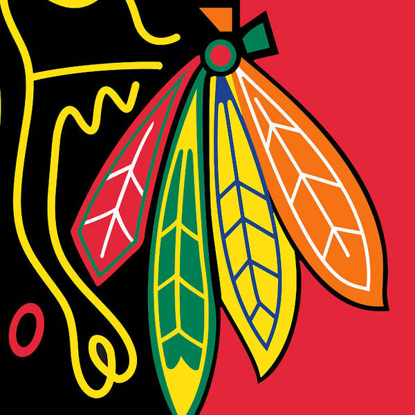 Chicago Poster featuring the painting Chicago Blackhawks by Tony Rubino