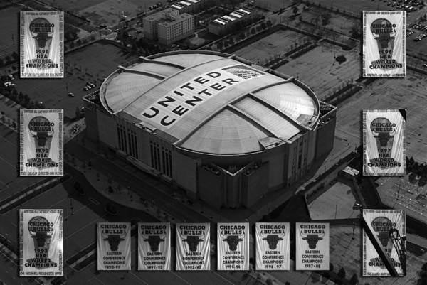 Chicago Bulls Poster featuring the photograph Chicago Bulls Banners In Black And White by Thomas Woolworth