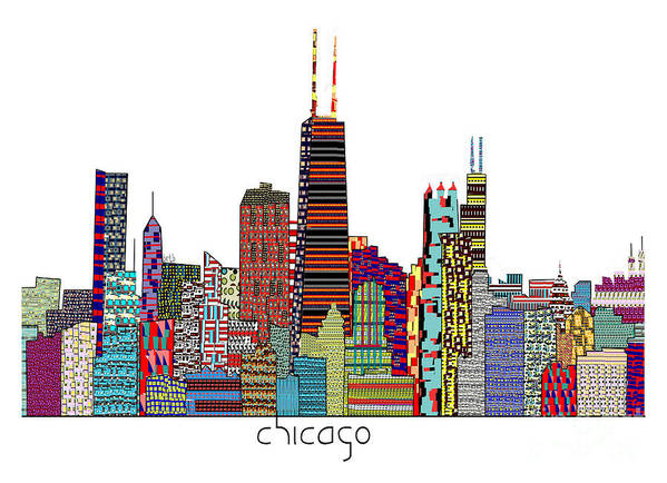 Chicago City Poster featuring the painting Chicago City by Bri B