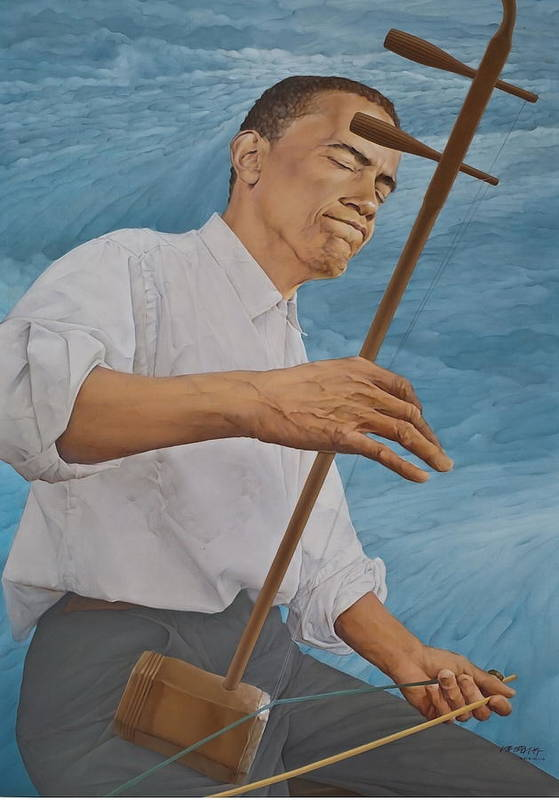Barack Obama Poster featuring the painting Chinese Citicen Barack Obama Is Playing Erhu A Chinese Two Stringed Musical Instrument by Tu Guohong