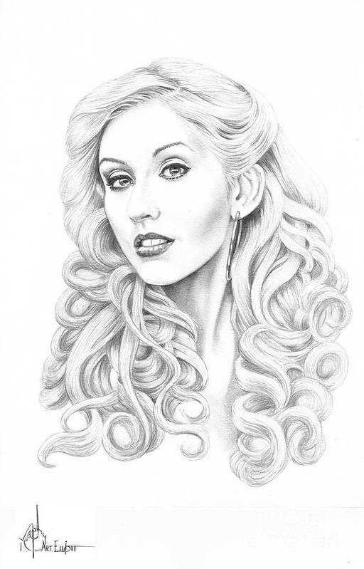 Pencil Poster featuring the drawing Christina Aguilera by Murphy Elliott