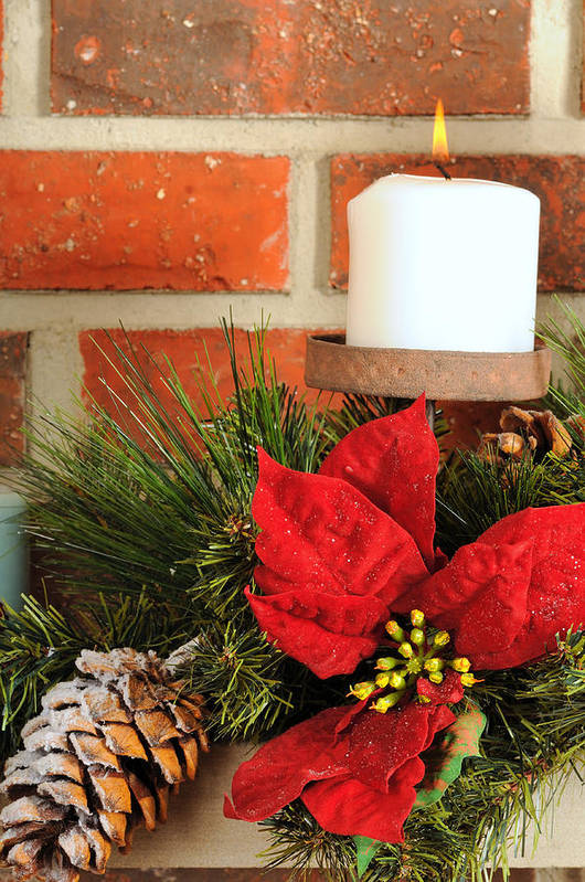 Christmas Poster featuring the photograph Christmas Candle by Kenneth Sponsler