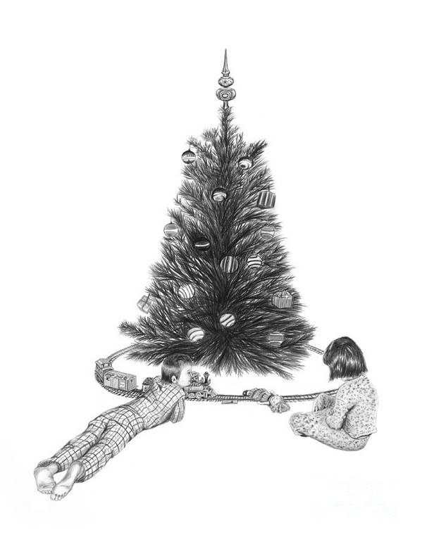 Christmas Cards Art Poster featuring the drawing Christmas Morning Play by Peter Piatt