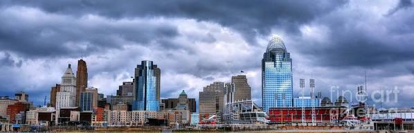 Cincinnati Skyline Poster featuring the photograph Cincinnati Skyline Clouds by Mel Steinhauer