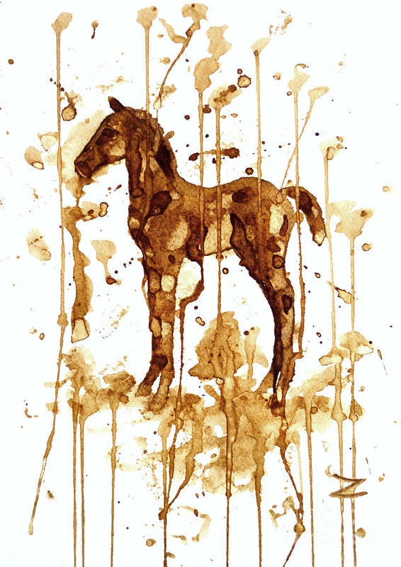 Coffee Poster featuring the painting Coffee Foal by Zaira Dzhaubaeva
